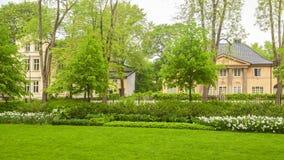 Slottsparken-Baumansicht in die Stadt Oslo lizenzfreie stockfotos