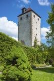 Slottträdgård med det historiska skurk- tornet i Horb på Neckaren fotografering för bildbyråer