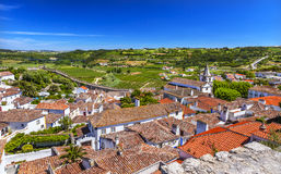 Slottväggapelsinen taklägger jordbruksmarkbygd Obidos Portugal Royaltyfria Bilder