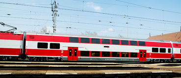 A Slovac  regional train is waiting in station. Electric double deck line 671 unit - Skoda Vagonka companies Royalty Free Stock Image