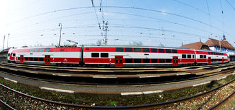 A Slovac  regional train is waiting in station Stock Photos