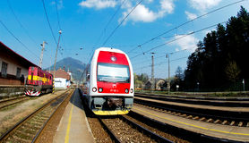 A Slovac  regional train is waiting in station. Electric double deck line 671 unit - Skoda Vagonka companies Stock Images