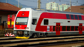 A Slovac  regional train is waiting in station. Electric double deck line 671 unit - Skoda Vagonka companies Royalty Free Stock Photo