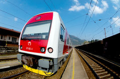 A Slovac  regional train is waiting in station. Electric double deck line 671 unit - Skoda Vagonka companies Royalty Free Stock Images