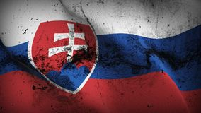 Slovakia grunge dirty flag waving on wind. Slovak background fullscreen grease flag blowing on wind. Realistic filth fabric texture on windy day Royalty Free Stock Photography