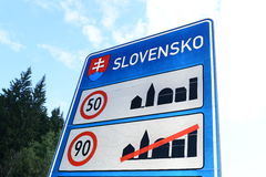 Slovak Border. Photo with Slovak border sign royalty free stock images