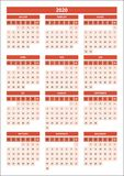 Slovak calendar for 2020 red color stock images