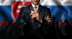 Slovak candidate speaks to the people crowd. Election in Slovakia stock images