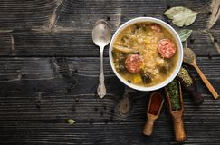 Slovak christmas cabbage soup with mushrooms on natural background. stock photo