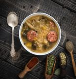 Slovak christmas cabbage soup with mushrooms on natural background. stock images