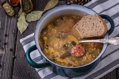 Slovak christmas cabbage soup with mushrooms on natural background. Slovak christmas cabbage soup with mushrooms on napkin and natural background stock images