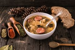 Slovak christmas cabbage soup with mushrooms on natural background. stock photography
