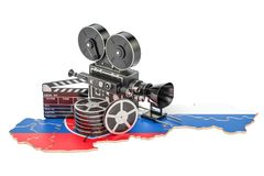 Slovak cinematography, film industry concept. 3D rendering. Isolated on white background Royalty Free Stock Photography
