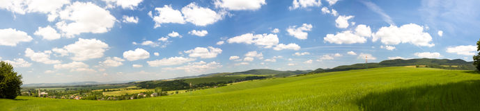 Slovak countryside landscape with fertile fields and lush green Stock Photos