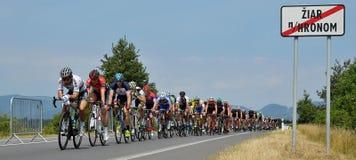The Slovak and Czech national road cycling championship 2017. ZIAR NAD HRONOM, SLOVAKIA - JUNE 26, 2017: The Slovak and Czech National road cycling championship Royalty Free Stock Photo