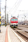 Slovak electric train on station Bratislava Lamac stock images