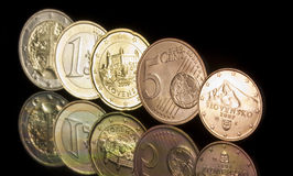 Slovak EURO. EURO coins and Slovak national side stock images
