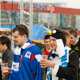 Slovak Fans near Minsk Arena Royalty Free Stock Photography