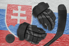 Slovak flag, hockey puck, gloves and putter Stock Photography