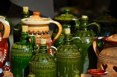 SLOVAK FOLK CERAMICS GREEN BOTTLE Royalty Free Stock Images