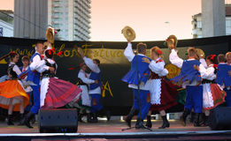 Slovak folklore dancers stage performance Royalty Free Stock Image