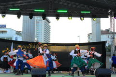 Slovak folklore dancers stage performance Stock Photography