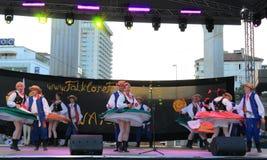 Slovak folklore dancers stage performance Stock Photo