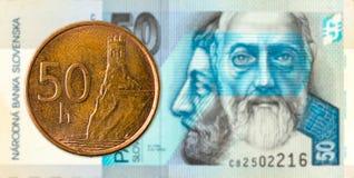 50 slovak halier coin against 50 slovak koruna banknote obverse. Specimen stock photos