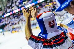 Slovak hockey fan cheering. Slovak ice hockey fan cheering during the game stock photos
