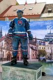 Slovak hockey palyer. KOSICE, SLOVAKIA - MAY 11: Slovak hockey player in fanzone during  2019 IIHF World Championship on May 11, 2019 in Kosice royalty free stock photos