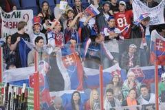 Slovak hockey fans. Slovakia ice hockey fans in Helsinki, Hartwall arena Stock Images