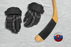 Slovak hockey puck and accessories Royalty Free Stock Photo
