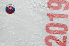 Slovak hockey puck on ice stock images