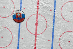 Slovak hockey puck on the site Royalty Free Stock Photography