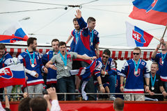 Slovak ice hockey team greets with fans Royalty Free Stock Image