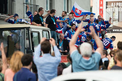 Slovak ice hockey team greets with fans Stock Photography