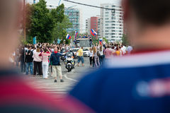 Slovak ice hockey team greets with fans home. Royalty Free Stock Photo