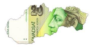 20 slovak koruna bank note obverse in shape of slovakia. Specimen royalty free stock photography