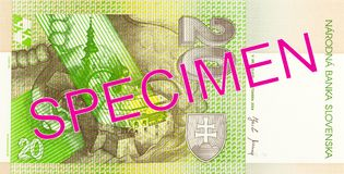 20 slovak koruna bank note reverse. Specimen stock images