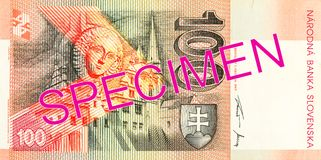 100 slovak koruna bank note reverse. Specimen royalty free stock photo