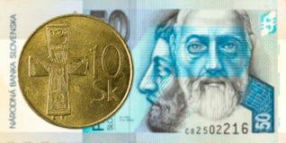 10 slovak koruna coin against 50 slovak koruna banknote obverse. Specimen stock image