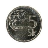 5 slovak koruna coin 1994 obverse. Isolated on white background royalty free stock images