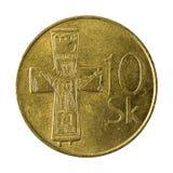 10 slovak koruna coin 2003 obverse. Isolated on white background royalty free stock photography