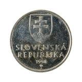 5 slovak koruna coin 1994 reverse. Isolated on white background stock photos