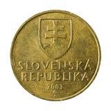 10 slovak koruna coin 2003 reverse. Isolated on white background royalty free stock photo