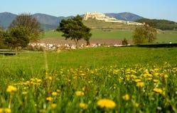 Slovak landscape with Spis castle and hills. Beautiful view of landscape of the Slovak Spis castle stock images