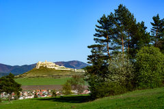 Slovak landscape with Spis castle and hills. Beautiful view of landscape of the Slovak Spis castle royalty free stock photo