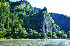 Slovak mountain next to the river. Covered in trees stock image