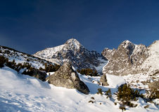 Slovak mountains - Lomnicky Peak. Winter scenery of High Tatras Stock Photos
