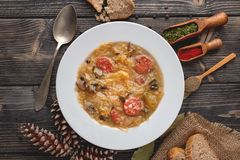 Slovak national christmas cabbage soup with mushrooms on natural backgrou. Slovak christmas cabbage soup with mushrooms on natural background royalty free stock images